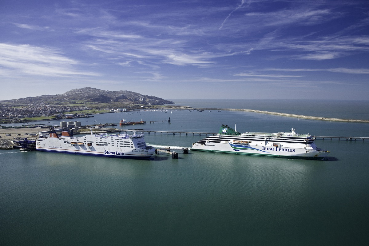 Holyhead (port featuring ferries) Isle of Anglesey Aerial North Towns & Villages